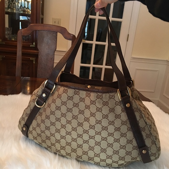 fc9564d1370 Gucci Handbags - GUCCI Monogram Medium Abbey Shoulder Bag Brown